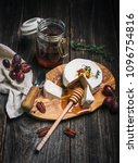 brie cheese  honey with a... | Shutterstock . vector #1096754816