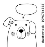 doodle sketch dog with chat... | Shutterstock .eps vector #1096786568