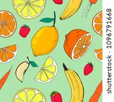 fruit seamless pattern with... | Shutterstock .eps vector #1096791668