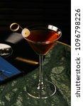 vinyl manhattan cocktail on bar ... | Shutterstock . vector #1096798226