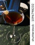 vinyl manhattan cocktail on bar ... | Shutterstock . vector #1096798232
