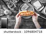black and white.noir. hot dog...   Shutterstock . vector #1096804718