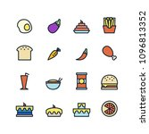 food icons set on white... | Shutterstock .eps vector #1096813352