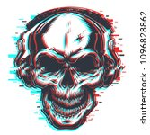 skull with headphones in glitch ... | Shutterstock .eps vector #1096828862