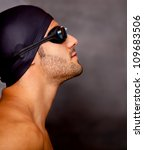 Profile of a professional male swimmer - sports concepts - stock photo