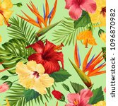 watercolor tropical flowers... | Shutterstock .eps vector #1096870982