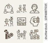 set of 9 people outline icons... | Shutterstock .eps vector #1096887035