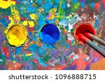 gouache paint table with paint... | Shutterstock . vector #1096888715