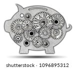 piggy bank icon and tooth wheel ... | Shutterstock . vector #1096895312