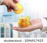 one hand picking golden digital ... | Shutterstock . vector #1096917425