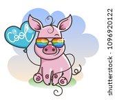 cute cartoon baby pig in a cool ... | Shutterstock .eps vector #1096920122