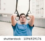 sporty male exercising with... | Shutterstock . vector #1096929176
