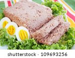 pate of pork with fresh lettuce and eggs - stock photo