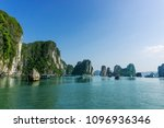 tourist boat and rock islands... | Shutterstock . vector #1096936346