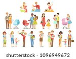 happy families with small... | Shutterstock .eps vector #1096949672