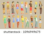young stylishly dressed people | Shutterstock .eps vector #1096949675