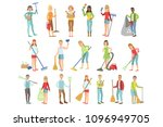 adult people cleaning up indoors | Shutterstock .eps vector #1096949705