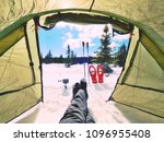 resting in tent while winter... | Shutterstock . vector #1096955408