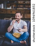 smiling caucasian man sitting... | Shutterstock . vector #1096961852