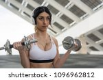 fitness woman training outdoors ... | Shutterstock . vector #1096962812