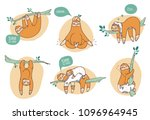 collection of funny sloths in... | Shutterstock . vector #1096964945