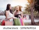 funny two shopper asian woman... | Shutterstock . vector #1096969016