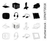 webcam  headphones  usb cable ... | Shutterstock . vector #1096973018