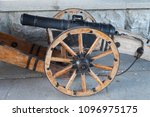 the big ancient gun has shot... | Shutterstock . vector #1096975175