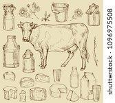 milk dairy produce elements... | Shutterstock .eps vector #1096975508