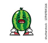 cartoon crying watermelon... | Shutterstock .eps vector #1096984166