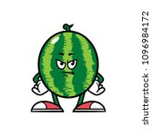 cartoon angry watermelon... | Shutterstock .eps vector #1096984172
