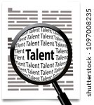 talent search  magnifying glass ... | Shutterstock .eps vector #1097008235