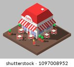 vector isometric restaurant... | Shutterstock .eps vector #1097008952