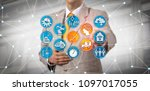 unrecognizable logistician is... | Shutterstock . vector #1097017055