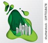 modern paper art city view.... | Shutterstock .eps vector #1097018678