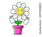 smirking daisy flower character ... | Shutterstock .eps vector #1097020835