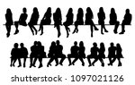 isolated  set of sitting people | Shutterstock .eps vector #1097021126