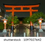 Stock photo fushimi inari shrine taisha shinto shrine of god inari there are over vibrant orange torii 1097027642