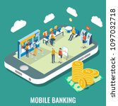 mobile banking vector flat 3d... | Shutterstock .eps vector #1097032718