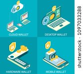 cryptocurrency wallet icon set. ... | Shutterstock .eps vector #1097033288