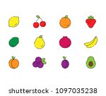 vector icon set of fruits in... | Shutterstock .eps vector #1097035238