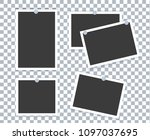 realistic photo frame placed on ... | Shutterstock . vector #1097037695