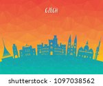 czech landmark global travel... | Shutterstock .eps vector #1097038562