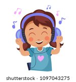 girl enjoys the music. kid in... | Shutterstock .eps vector #1097043275