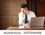 businessman stressed out... | Shutterstock . vector #1097046488