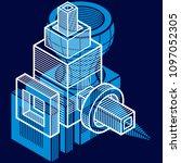 vector abstract 3d geometric... | Shutterstock .eps vector #1097052305