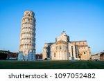 leaning tower of pisa in pisa ... | Shutterstock . vector #1097052482