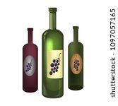 three bottles of wine   Shutterstock .eps vector #1097057165