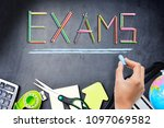 school exams concept with exam... | Shutterstock . vector #1097069582