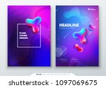 liquid color cover set. fluid... | Shutterstock .eps vector #1097069675